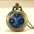 Doctor dr who gallifreyan collar del señor del tiempo 1 unids/lote steampunk de bronce reloj de bolsillo de plata colgante regalo de la joyería para hombre de cadena de las mujeres