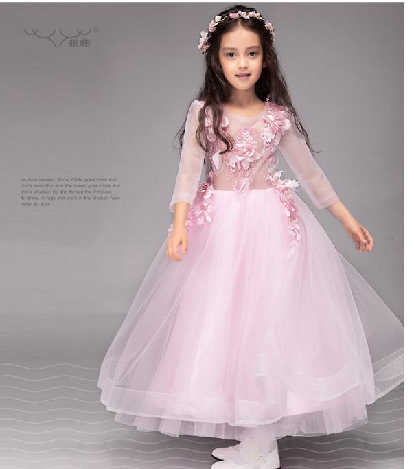 Girls Pageant Long Formal Dresses 2017 Long Sleeve Gauze Gowns Flowers Girls Princess Tutu Dress Kids Wedding Party Dresses Pink