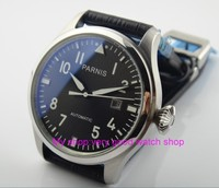 47 mm PARNIS Black dial Automatic Self Wind movement Auto Date men watches luminous Mechanical watches 15SY