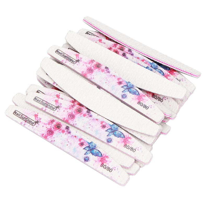 25pc 80 80 Printed Nail File Design Acrylic Sandpaper File Polish Buffer Double sided Repair Polished Half Moon Manicure Tool TF in Nail Files Buffers from Beauty Health