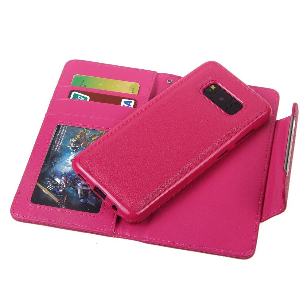 Для Samsung Galaxy S8 бумажник чехол g9500 Личи шаблон 2 в 1 premium Магнитный ТПУ задняя крышка сальто PU кожа съемный кошелек