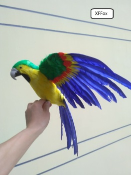 big real life wings parrot model foam&feather simulation green&blue&yellow parrot bird gift about 45x60cm xf0256