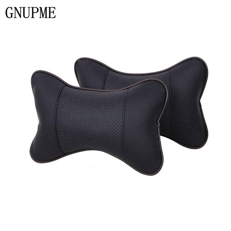 2pcs Car Neck Pillow Leather PP Cotton Car headrest Supplies Neck Safety Pillow Head Neck Rest Cushion Hole-digging Car Headrest