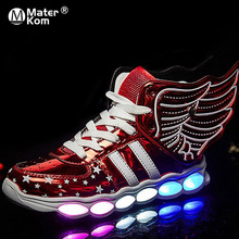 Taille 25 37 USB charge aile LED enfants chaussures avec lumière enfants décontracté garçons et filles baskets chaussures rougeoyantes zapatillas con luces