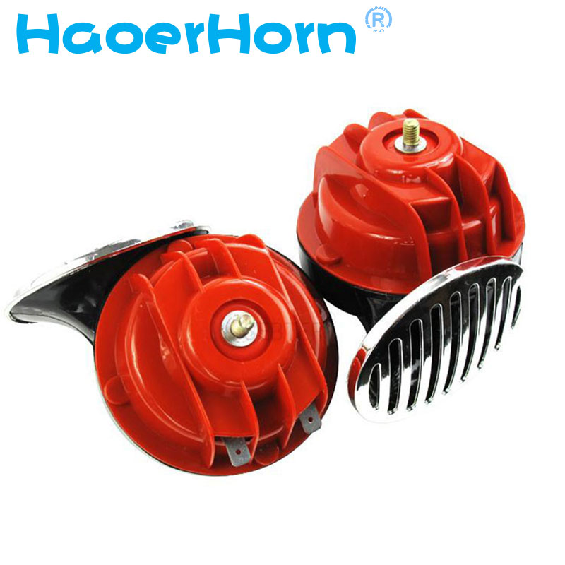 2x 12V Snail Air Horn With cover Vehicle Marine Boat Loud Alarm Kit Red for Car Boat Motorcycle Van car horn free shipping suv 2pcs pair 1 treble 1 bass waterproof super loud snail horn speeker 12v car 510hz 115db alarm sound