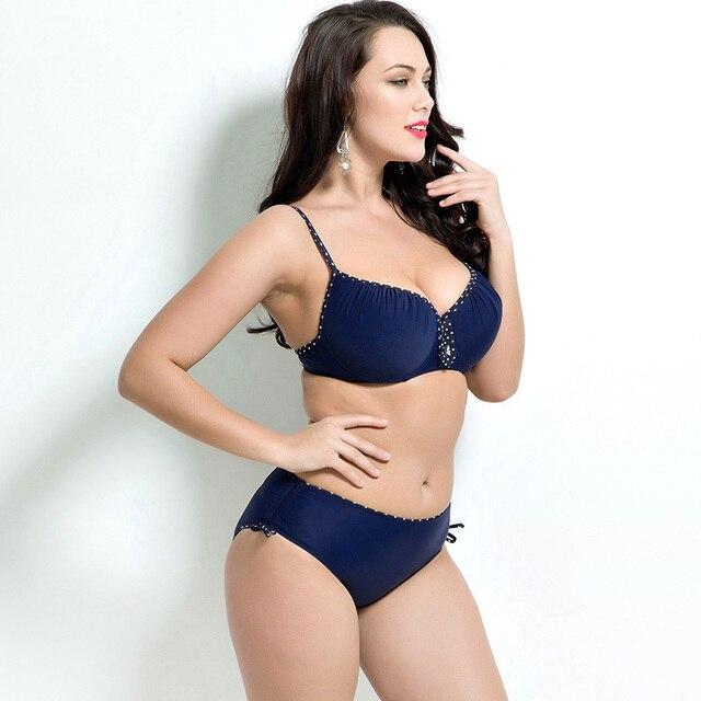 2018 Women Swimwear Sexy Plus Size Swimsuit Fat Wear Plus Size Bikini Set Bathing Suit Push Up Biquini Women Large Cup Bikini 2