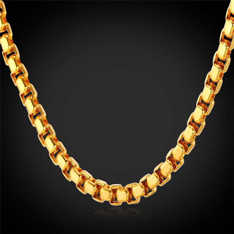 Kpop Box Link Chain Men Necklace Chain Stainless Steel Gold Color New Wholesale Trendy Special Mens Jewelry For Gift N224