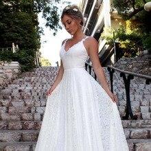 White Long Sexy Beach Spaghetti Straps Wedding Dress Lace Appliques Brides Gowns Vestidos De Novia Robe Mariage Custom Made