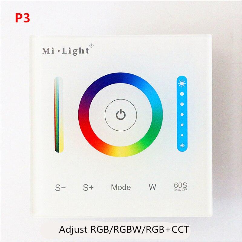 AC/DC 12V-24V 15A Mi Light P1 P2 P3 Glass Smart Touch Screen Panel Controller Dimming/CCT/RGB/RGBW/RGB+CCT LED Strip Wall light