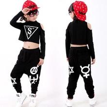 Los niños traje de la danza de salón de baile Traje + Pantalones de los  niños negro hip hop danza vestido Girl danza jazz camisa b78e6b4d2f5
