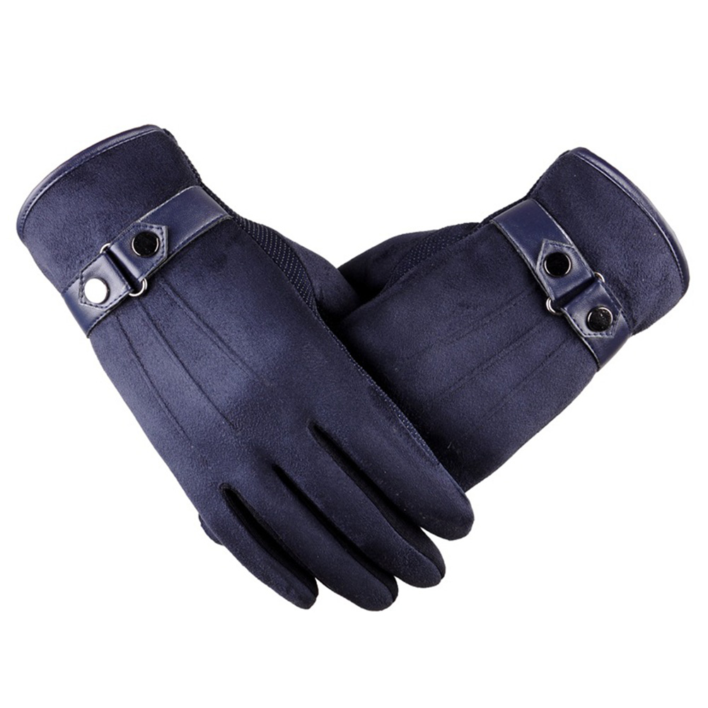 Motorcycle Driving Warm Anti-Slip Gray Blue Gloves Fashion Men's Leather Gloves 21cm Length