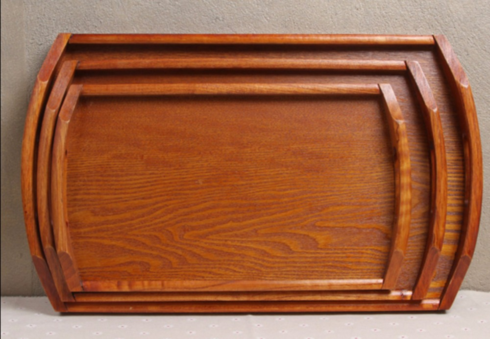 European style Solid Wooden Pallet Tray Rectangular For Home Hotel Serving Plate With Handle Free Shipping