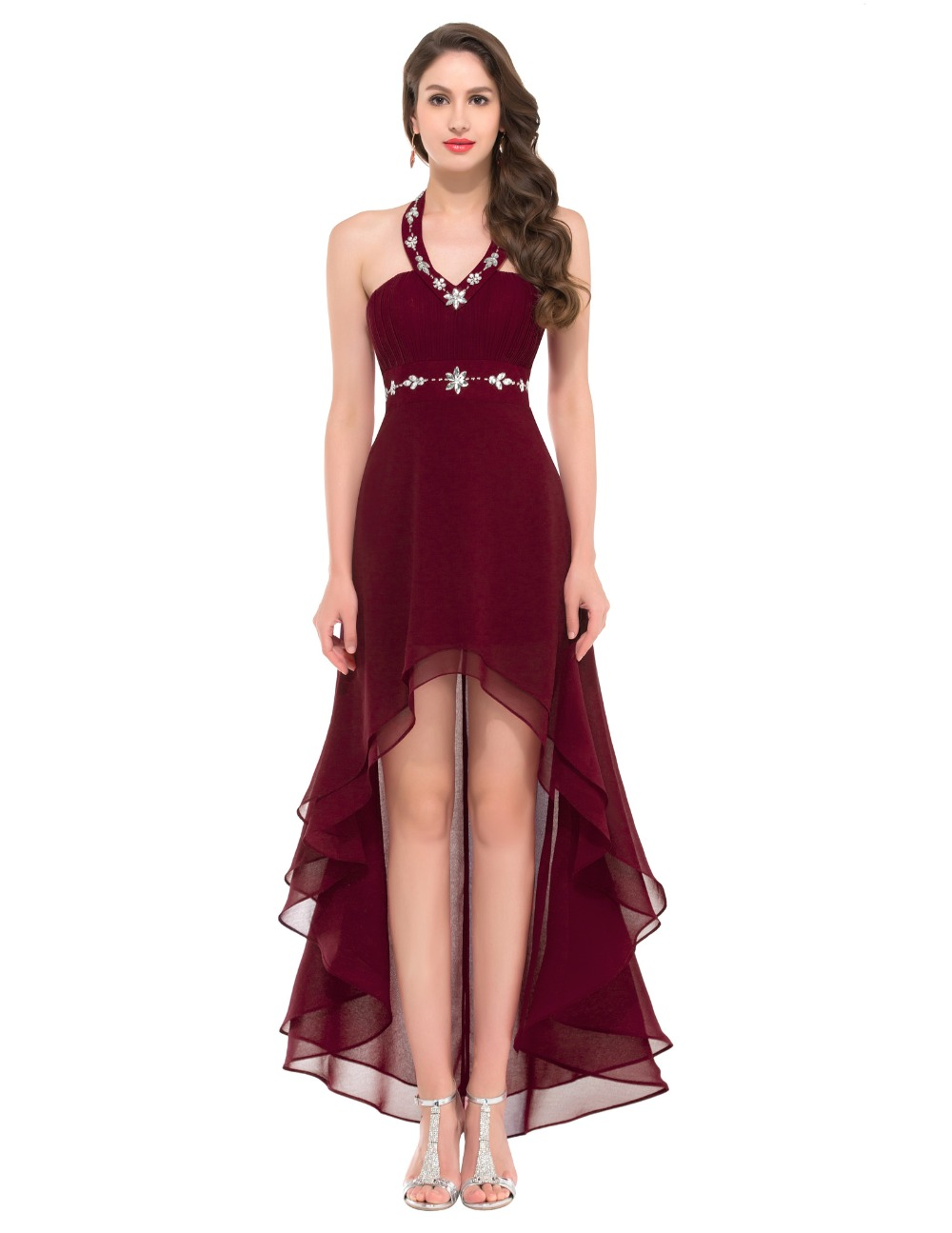 9829e1245d Grace Karin GK000012 Cheap Sexy High Low Halter Black Powder Blue Burgundy  Prom Dresses Short Front Long Back Party Dress Gown