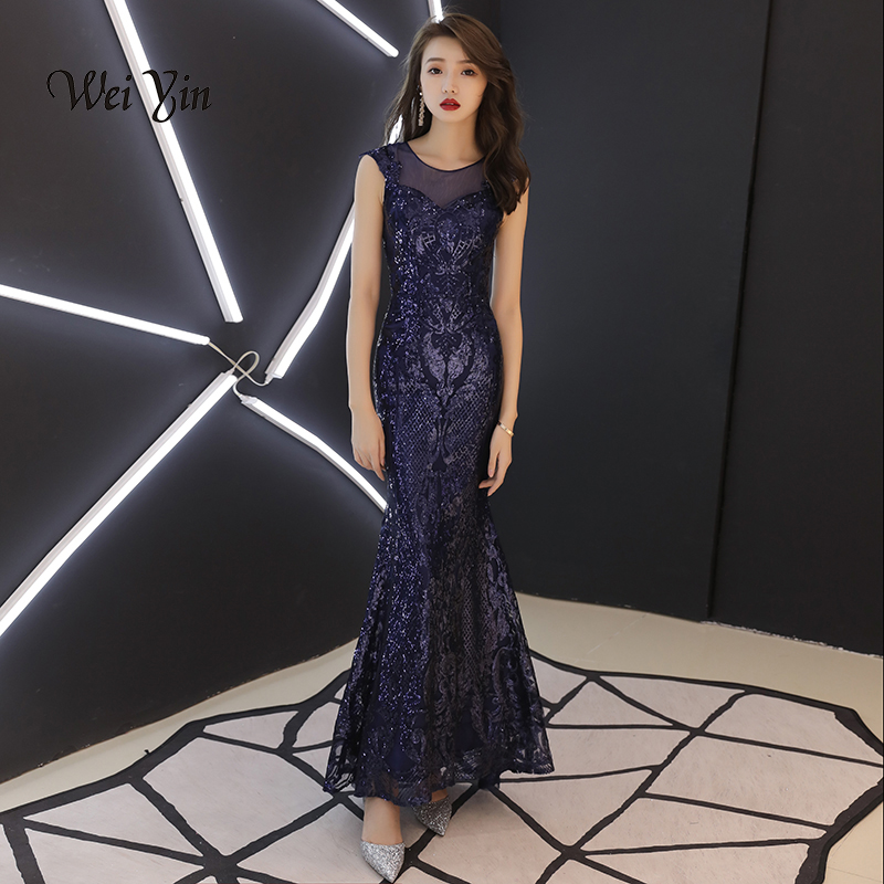 weiyin 2019 New Elegant O-neckSleeveless Navy Blue Sequined Mermaid   Evening     Dresses   Long Special Occasion   Dresses   WY874