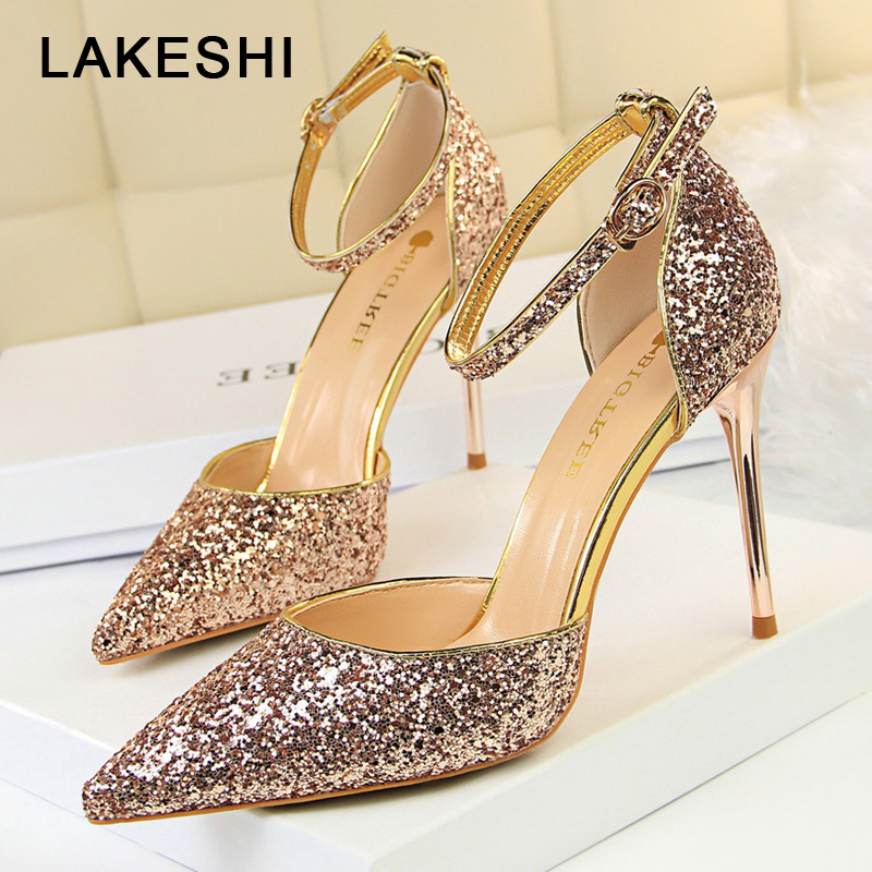 New Women Pumps Wedding Shoes Women Bride Sexy High Heels Shoes Pointed Toe Bling Sequin Party Heel Shoes Gold  Female SandalsNew Women Pumps Wedding Shoes Women Bride Sexy High Heels Shoes Pointed Toe Bling Sequin Party Heel Shoes Gold  Female Sandals