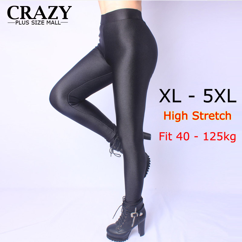 New 2019 XL- 5XL Fit 40-120kg Winter Women Plus Size Leggings High Waist Stretch Sexy Shiny Pants Slim Warm Skinny Pants 5XL 4XL