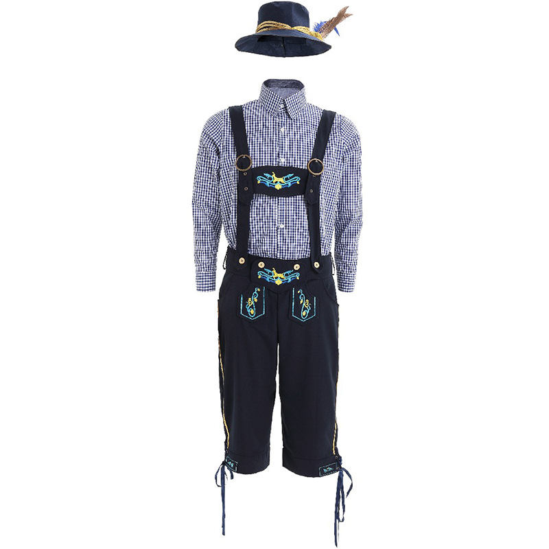 Men's Oktoberfest Lederhosen with Suspenders Hat Costumes Set For Man Party Cosplay Waiter Farmer Game Costumes Size M XL
