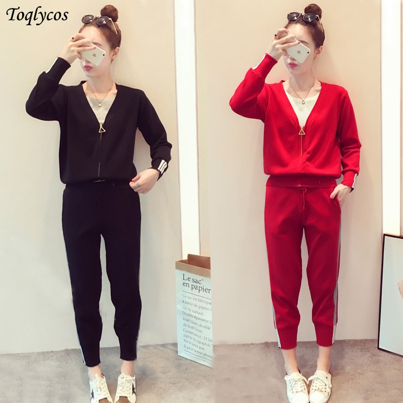 Autumn Clothing New Korean Version Of The Fashion Suit Women's Long-sleeved Jacket Sportswear Western-style Two-piece Set 248