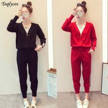 Autumn clothing new Korean version of the fashion suit women's long-sleeved jacket sportswear western-style two-piece set 248(China)