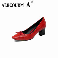 Aercourm A Genuine Leather Women S Shoes 2017 New High Heels Spring Summer Red Bottom High
