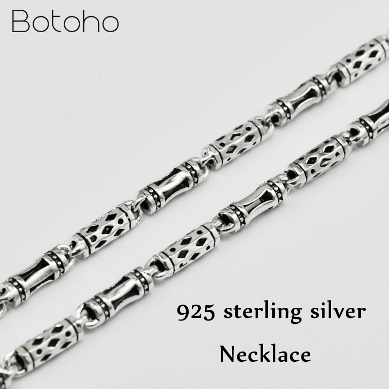 925 Sterling Silver Necklace for Men Vintage Punk Thai Silver 4mm Bamboo Chain Necklace Male Fashion Jewelry Father's Day Gifts gagafeel vintage 925 sterling silver chain man necklace dragon head thai silver necklace for men jewelry punk style high quality