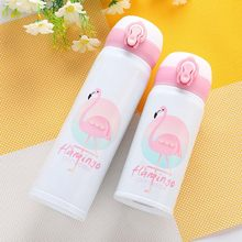 500ML Flamingo Pattern Thermocup Bouncing Cover Bottle Vacuum flask Thermal Mug Travel Thermos Cup Stainless Steel(China)