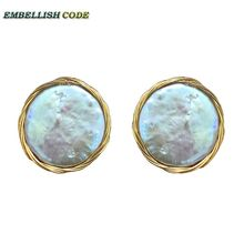 NEW golden Handmade elegant Baroque pearl big bright gray flat round Buttons coin natural freshwater pearls stud earrings
