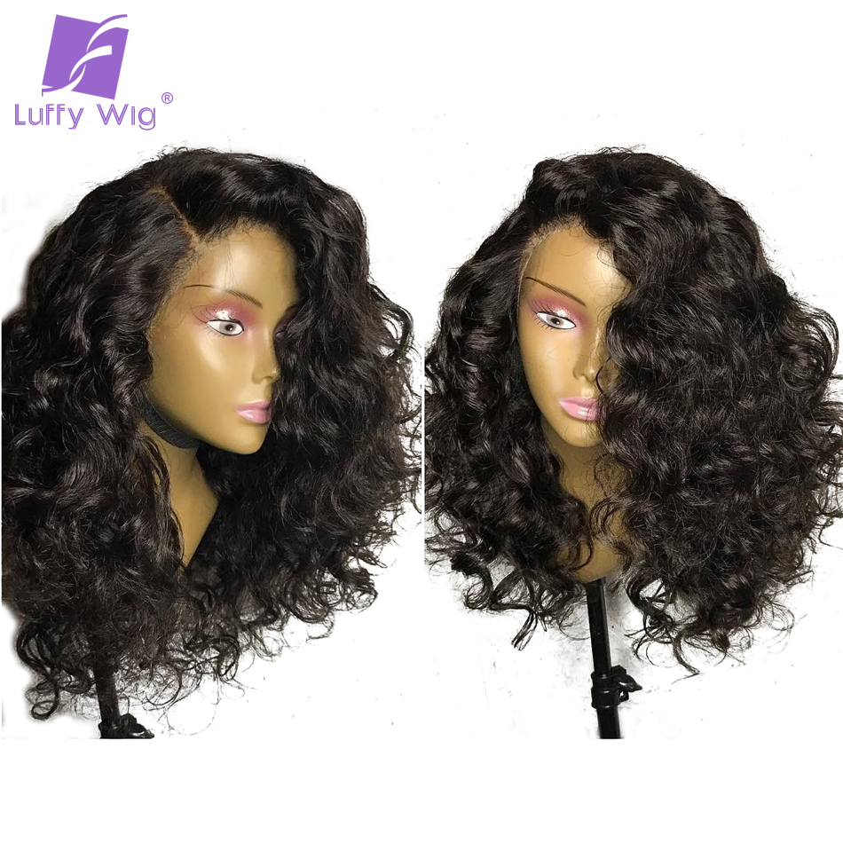 Luffy 13x6 Brazilian Human Hair Curly Lace Front Wigs With Baby Hair - Human Hair (For Black)