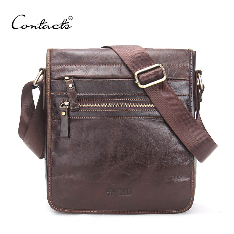 CONTACT'S New Fashion Genuine Leather Man Messenger Bags Cowhide Male Cross Body Bag Casual Men Commercial Briefcase Bag manbang new fashion genuine leather man messenger bags cowhide leather male cross body bag casual men commercial briefcase bag