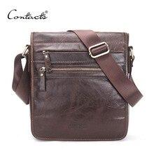 CONTACT'S New Fashion Echtes Leder Mann Messenger Bags Rindsleder Männliche Umhängetasche Casual Männer Kommerziellen Aktentasche