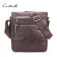 CONTACT S New Fashion Genuine Leather Man Messenger Bags Cowhide Male Cross Body Bag Casual Men