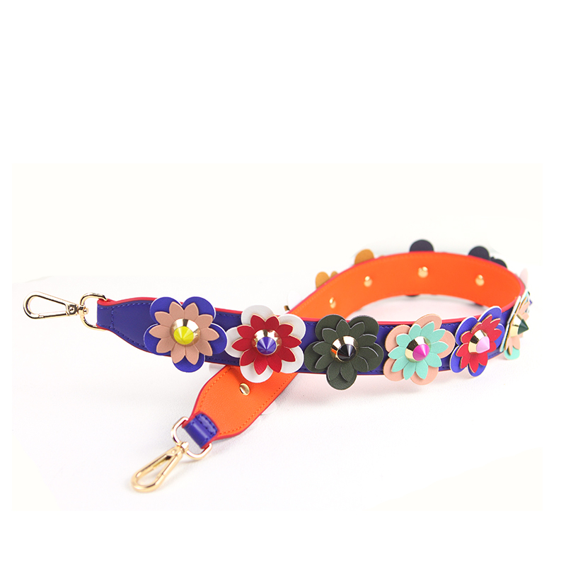 New 2018 Interchangeable Popular Panelled PU Leather Shoulder Strap Flower Mix Trim Strap You Brand Strap Belts Handbags j001