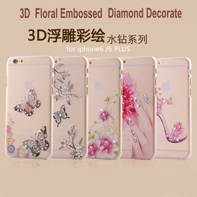 Floral Embossed Phone Case For iphone 6 6S 6Plus 6S Plus Transparent PC  Luxury Cases Diamond Decorate Back Cover JK163 c1ae5eaa68ea