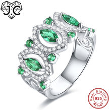 d2cfcd8e1962 J. C nueva moda rubí Spinel y esmeralda Topacio blanco sólido 925 anillo de  plata de ley tamaño 6 7 8 9 mujeres  joyería fina de.