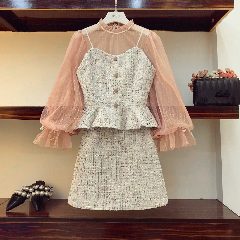 Small Fragrant 3 Pieces Clothing Set 2019 Autumn Women Pink Mesh Shirt Top + Tweed Short Tank Crop And Mini Bodycon Skirt Suit