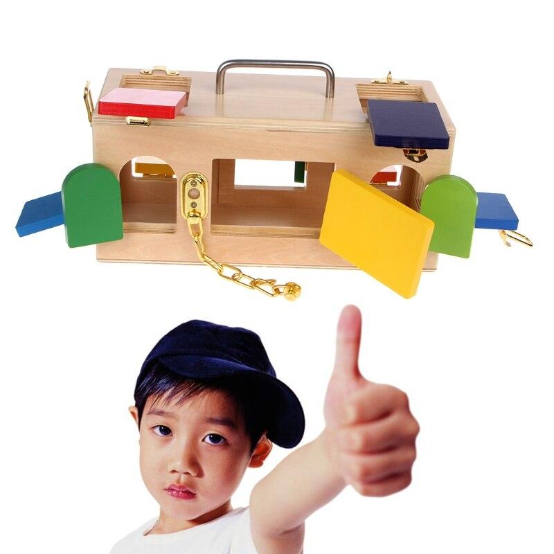 Montessori serrure boîte coloré enfants enfants éducatifs préscolaire formation jouets - 3