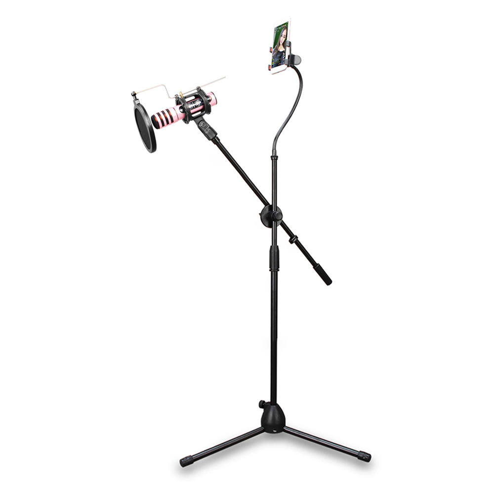 Microphone Tripod Stand Bracket Supporter with Shock-proof Mount Mic Pop Filter Mobile Phone Holder for Podcast Broadcast adjustable recording mic microphone stand bracket tripod with dual phone holder multi function tripod tablet phone holder stand