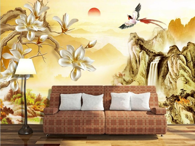 classic wallpaper for walls Mountain orchid wall 3d wallpaper Home ...