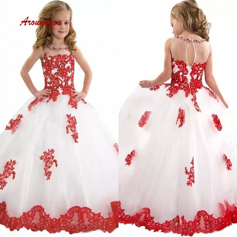 White and Red Lace   Flower     Girl     Dress   for Party and Weddings Pageant First Holy Communion   Girls     Dress   for   Girls   Gown 2019