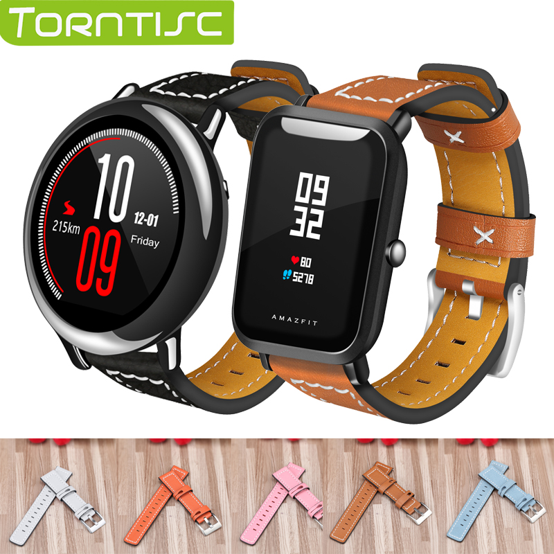Aliexpress Com Buy Torntisc Genuine Leather Bands For Xiaomi Huami Amazfit Bip 20mm