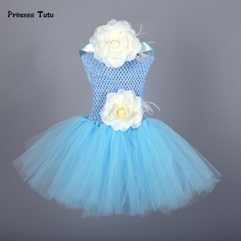 70f28789a Flower Baby Girl Dress Princess Light Blue Tutu Dress Baby Infant Toddler  Christening Gown 1 Year Birthday Party Dress Vestidos