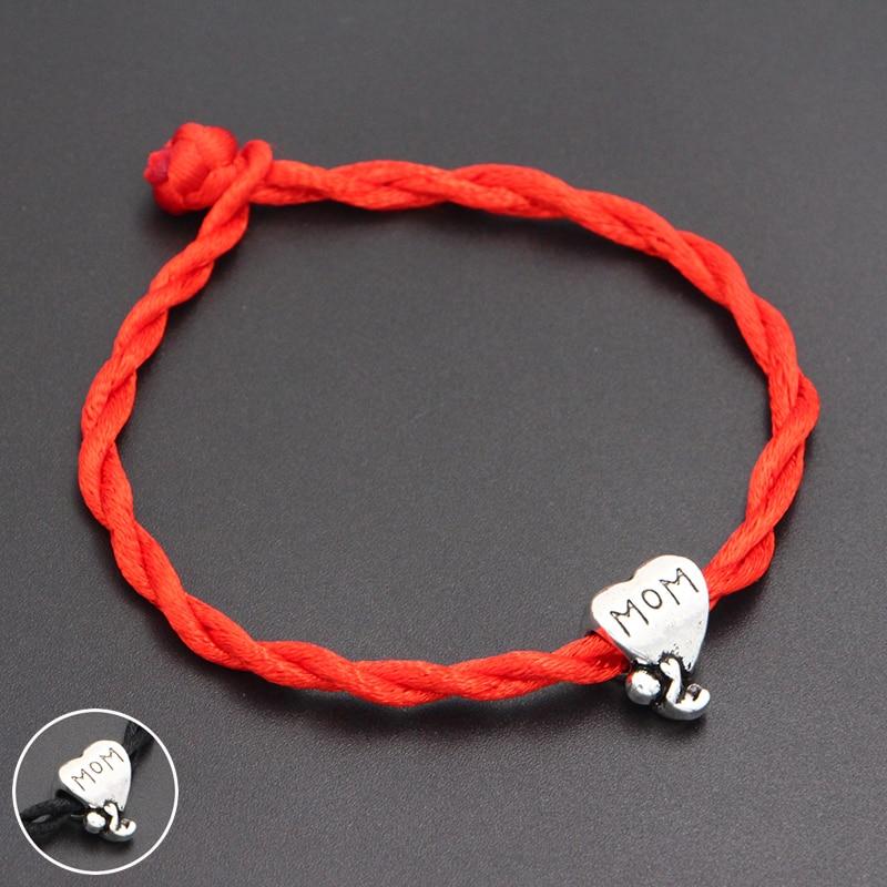 2020 New Baby Love Mom Heart Beads 4mm Red Thread String Bracelet Lucky Red Handmade Rope Charm Bracelet for Women Men Jewelry