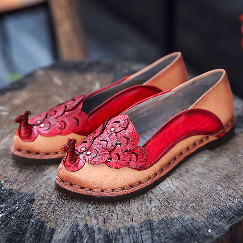 ФОТО Ladies Shoes Casual Loafers Ethnic Flat Shoes Woman Real Leather Loafers Quality Women Luxury Designer Flat Shoes brand Loafers