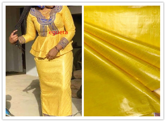 Bazin riche getzner 2018 nouveau giallo del merletto del jacquard tessuto di scintillio di atiku tessuto per gli uomini bacino riche getzner5yard/lot 5808 #