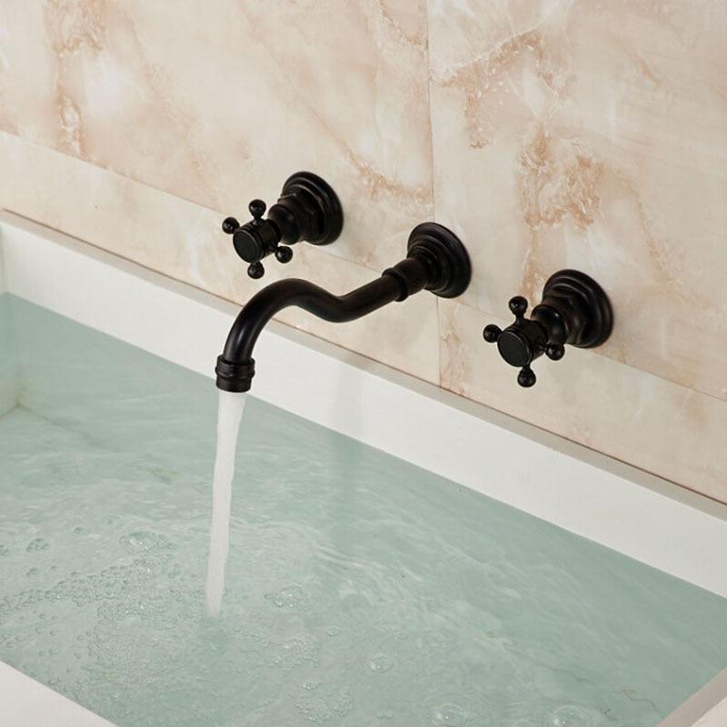 Aliexpress.com : Buy Bathroom Brass Dual Cross Handles Basin Sink ...
