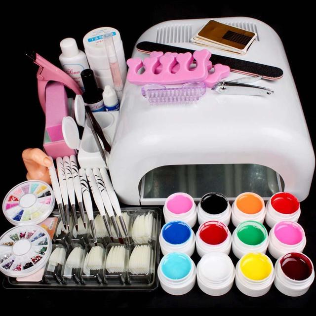 Pro Full 36W White Cure Lamp Dryer + 12 Color UV Gel Nail Art Tools ...
