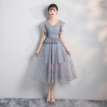 Grey Embroidery Short Inner Lining Midi Dress Bridesmaid Dress New Korean Version Off Shoulder  Sister  Dress
