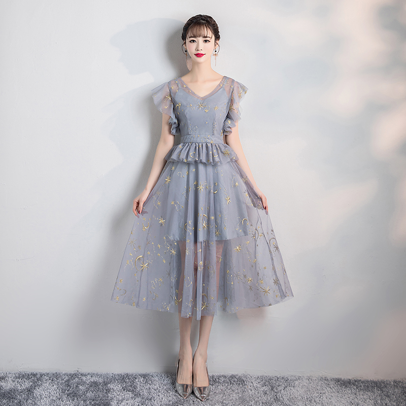 Grey Embroidery Short Inner Lining Midi Dress Bridesmaid Dress New Korean Vestidos Off Shoulder  Sister  Dress Sexy Prom