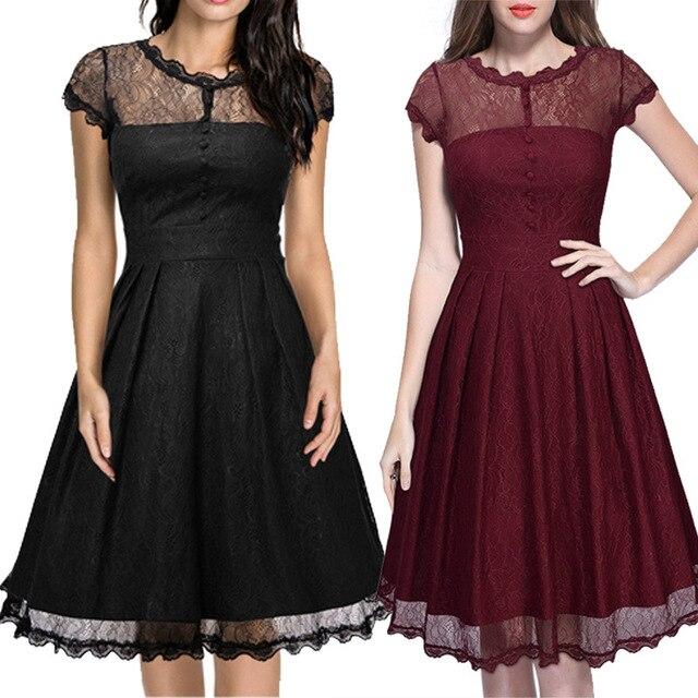Womens Elegant Vintage Black Lace Sleeveless Plus Size 50s Dresses