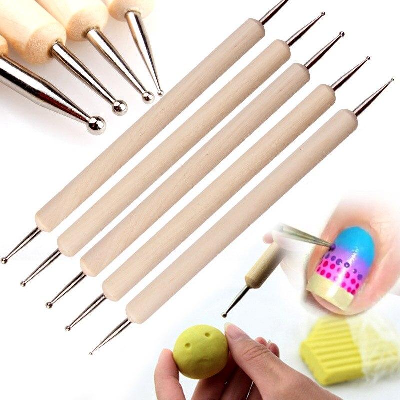 5PCS Indentation Pen Nail Art Embossing Tools,Wooden Ball Stylus Dotting Tool Set Pattern Sculpting Clay Sculpting Modeling Tool